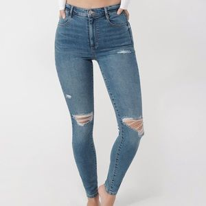Garage Medium Blue Ripped Skinny Jean